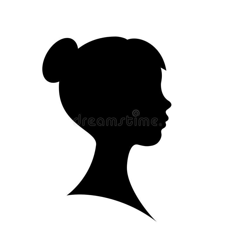 Ung härlig kvinnakontur vektor illustrationer