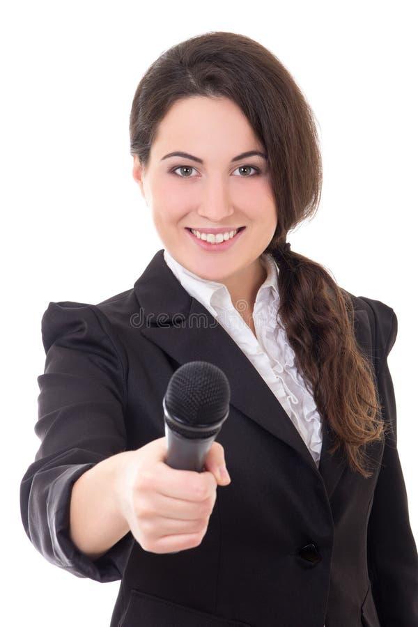 Ung härlig kvinnlig reporter med mikrofonen som isoleras på whit arkivbilder