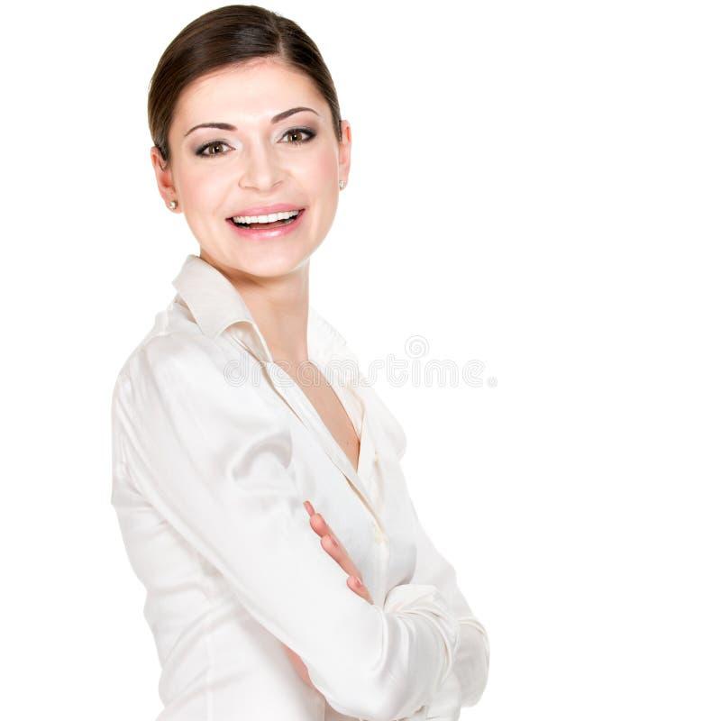 Ung härlig le kvinna i vitkontorsskjorta arkivbilder