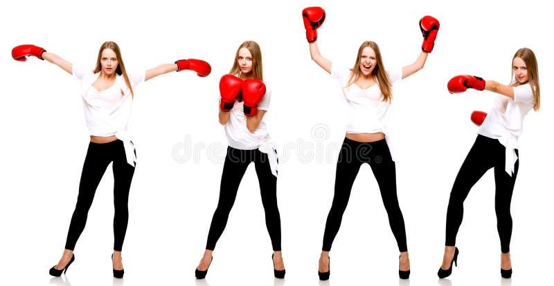 Ung härlig modekvinnaboxning på vit backgroun arkivbild