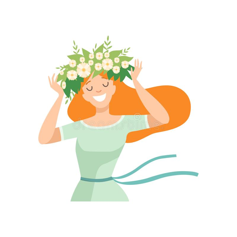 Ung härlig rödhårig mankvinna med blommakransen i hennes hår, stående av den eleganta le flickan med den blom- kransvektorn stock illustrationer