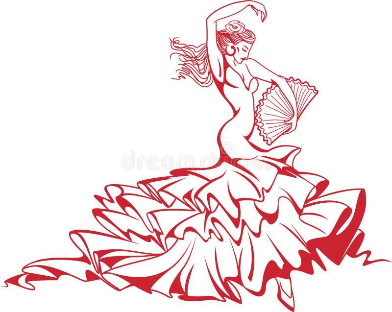 Ung härlig spansk flamencodansare i lång klänning med fanen royaltyfri illustrationer