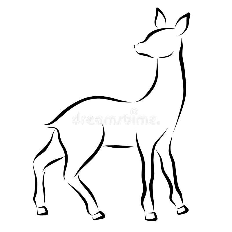 Ung hjortar eller doe, svart kontur royaltyfri illustrationer