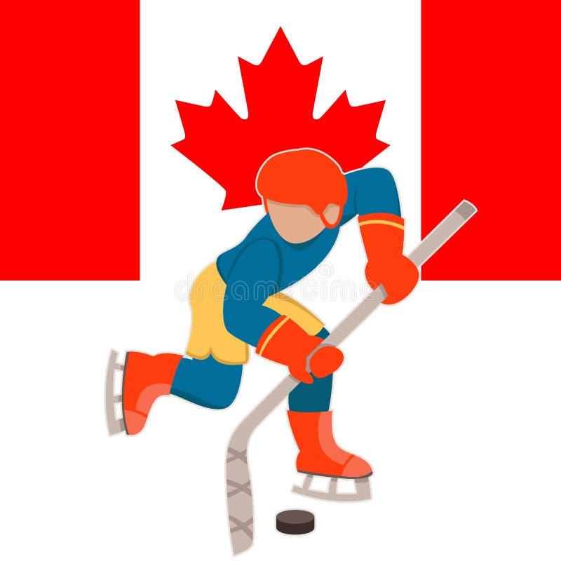 Ung hockeyspelare på den bakgrundsKanada flaggan vektor illustrationer