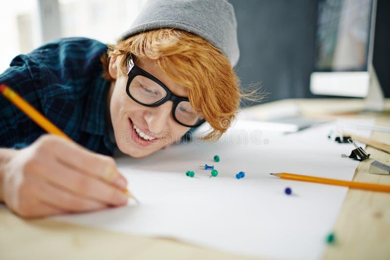 Ung idérik konstnär At Work arkivfoton