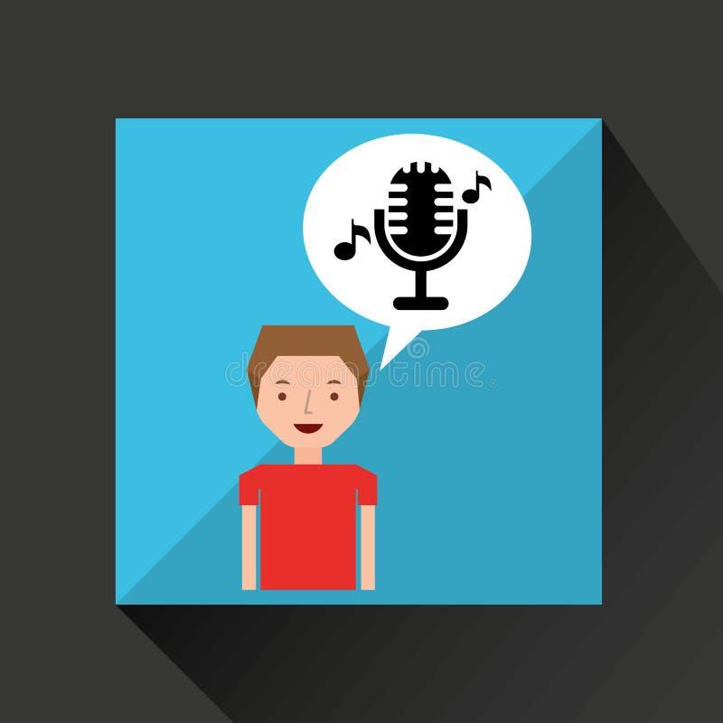 Ung klassiker för mikrofon för pojkemusikbegrepp vektor illustrationer