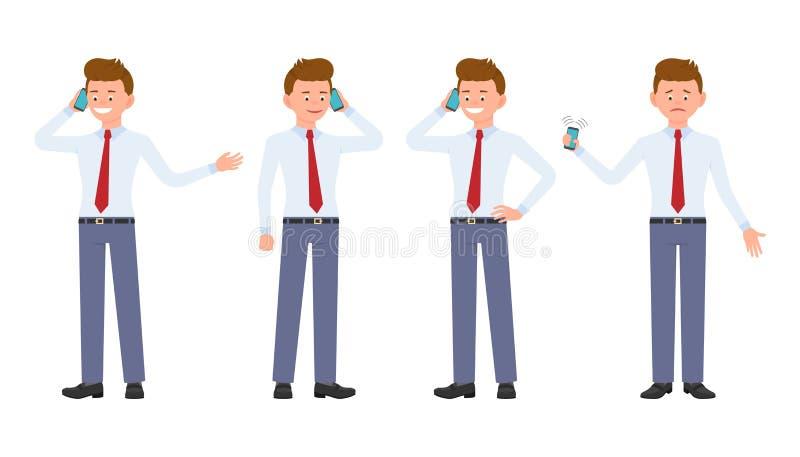 Ung kontorsarbetare i formella kläder genom att använda smartphonen vektor illustrationer