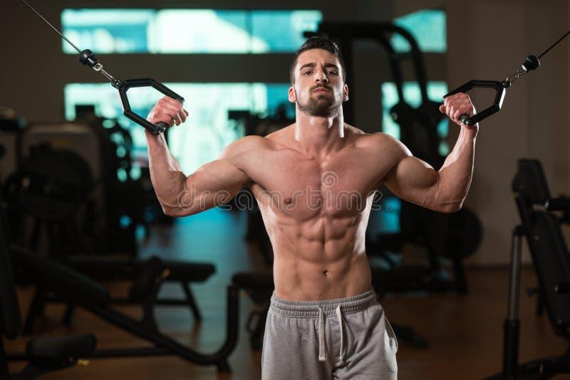 Ung kroppsbyggare som övar biceps på kabelmaskinen arkivbild