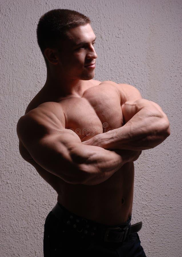 Ung kroppsbyggare som visar muskler royaltyfri foto
