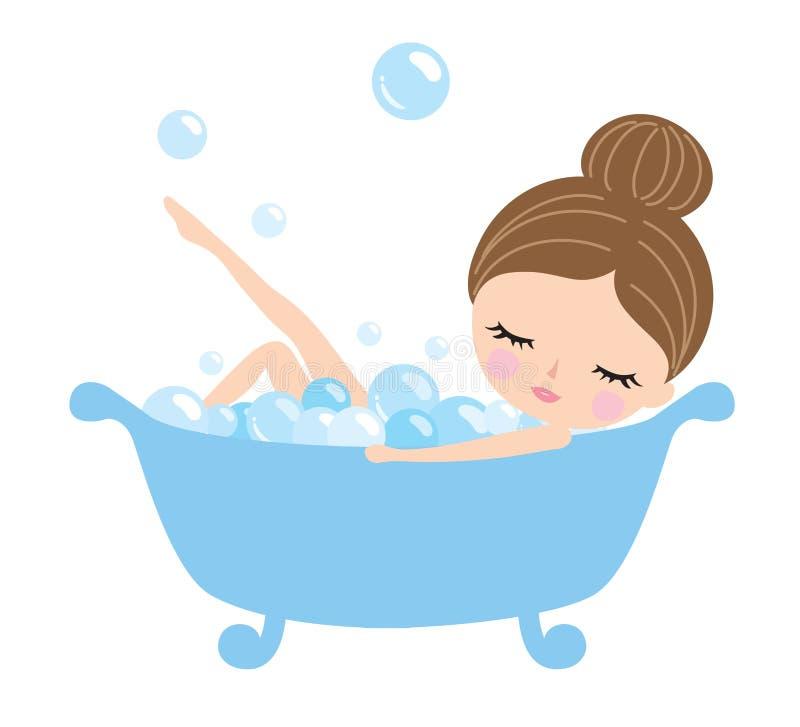 Ung kvinna i badkar stock illustrationer