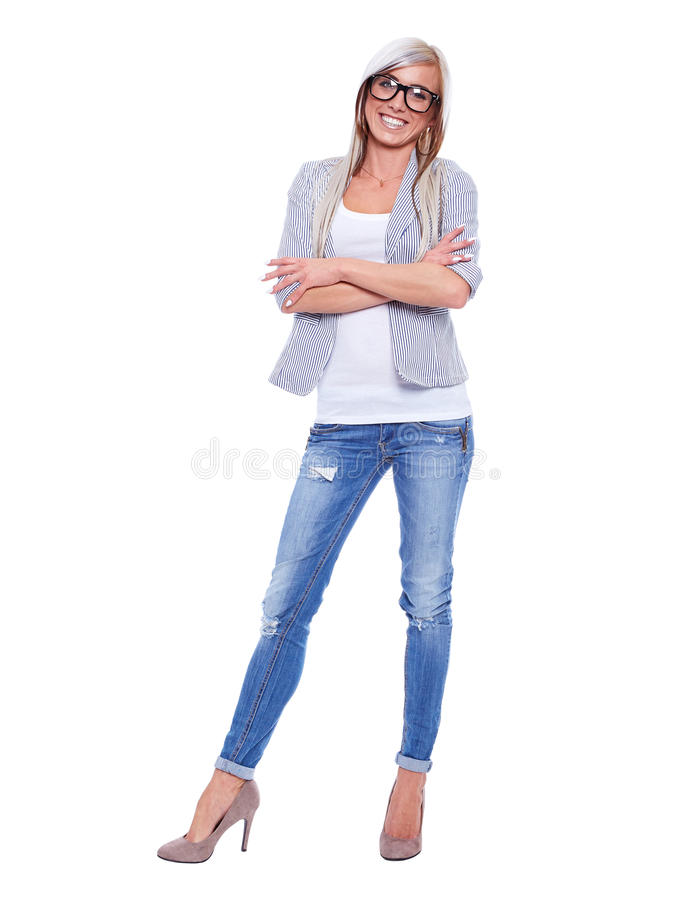 Ung kvinna i blazer med exponeringsglas royaltyfria foton