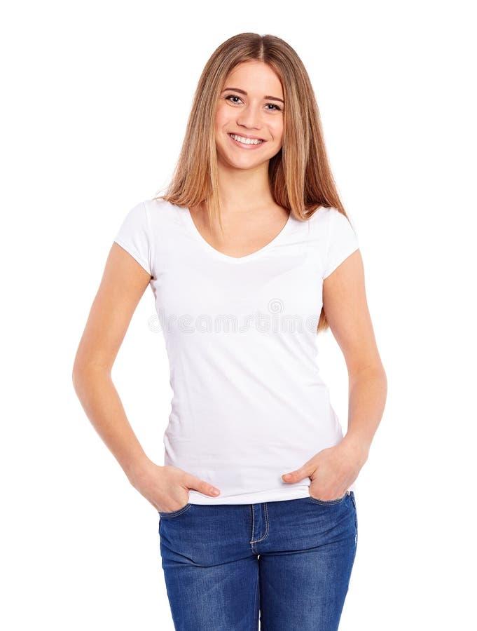 Ung kvinna i den vita T-tröja royaltyfria foton