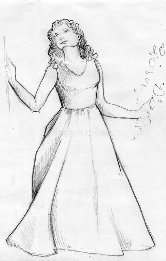 Ung kvinna i en lång klänning - blyertspennan skissar royaltyfria bilder