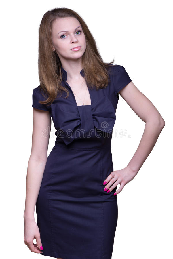 Ung kvinna i en mörk klänning arkivbild