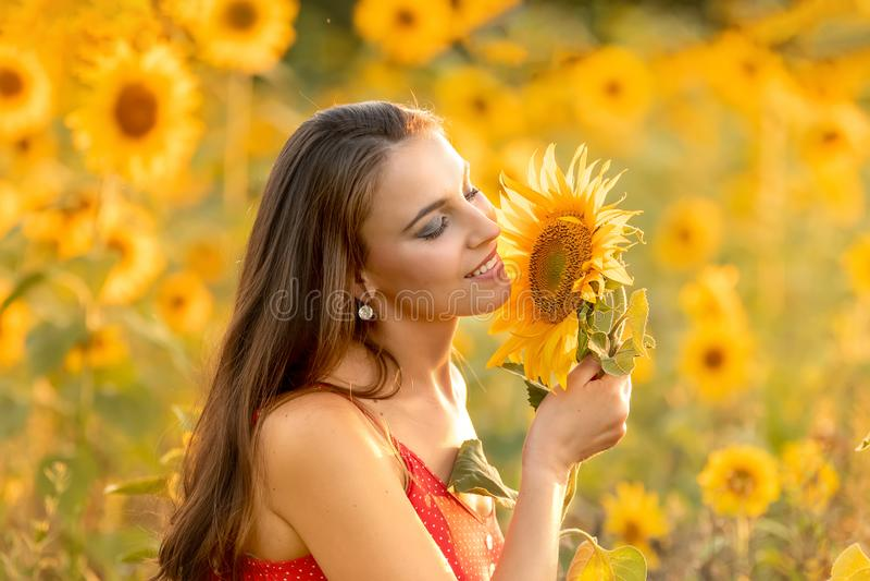 Ung kvinna i fältet med solrosor fotografering för bildbyråer
