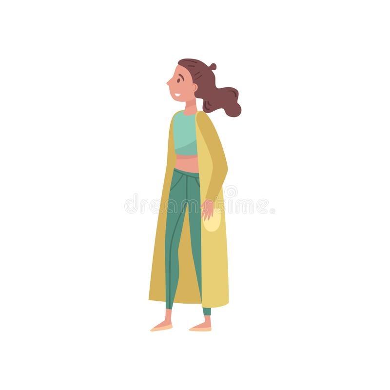 Ung kvinna i grön kläder, vänligt folkbegrepp för eco, skydd och bevarande av miljövektorn stock illustrationer