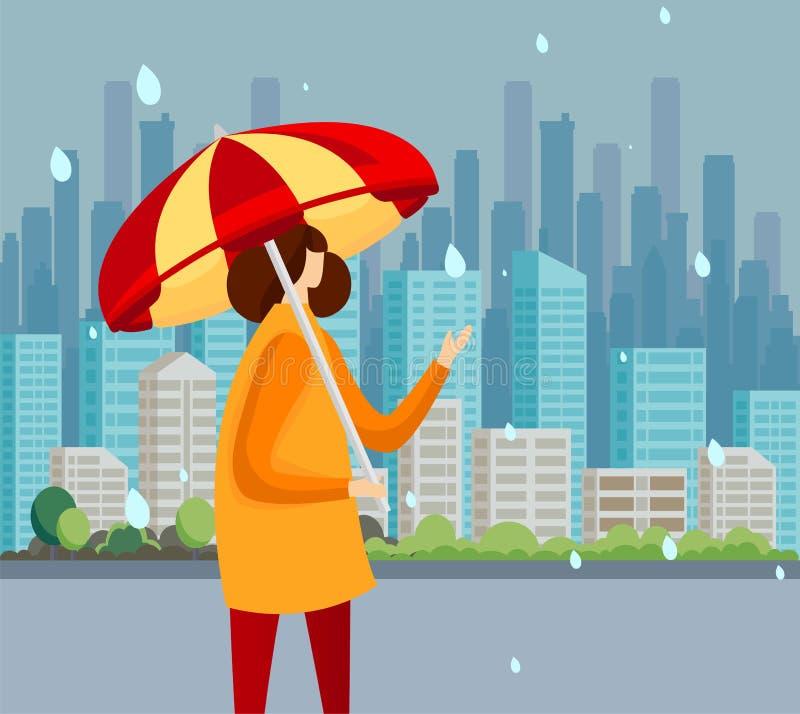 Ung kvinna i kappan som står på regnlåsdroppar royaltyfri illustrationer