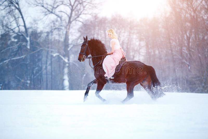 Ung kvinna i klänningridninghäst på vinterfält arkivbilder