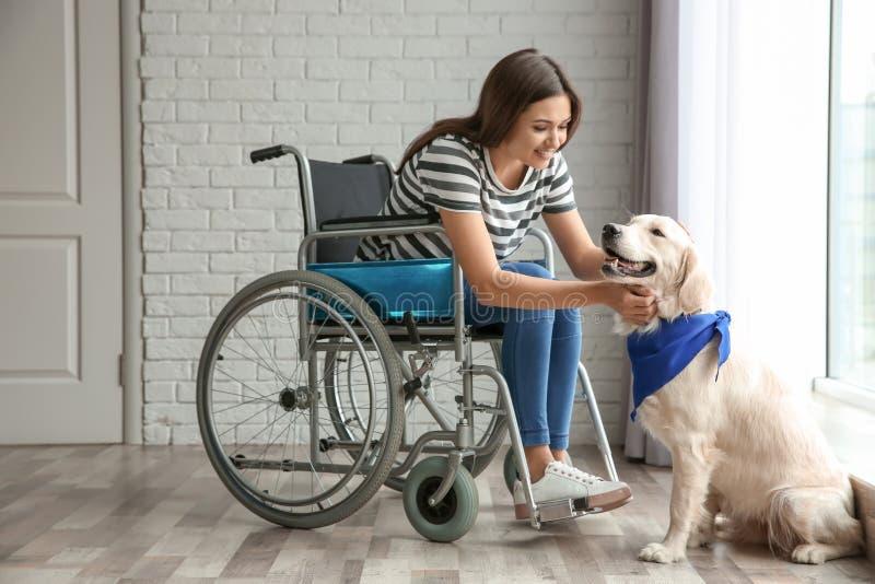 Ung kvinna i rullstol med hunden arkivbild