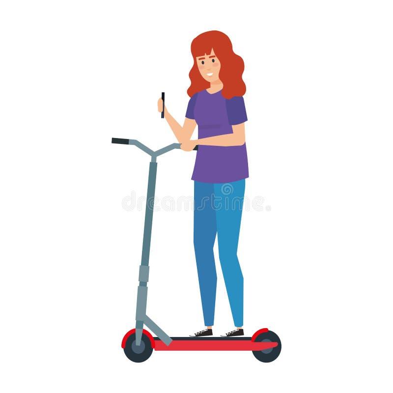Ung kvinna i vikande sparkcykel stock illustrationer