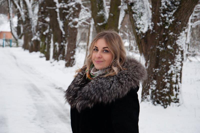 Ung kvinna i vinterstående Flickan i vintern parkerar arkivbilder