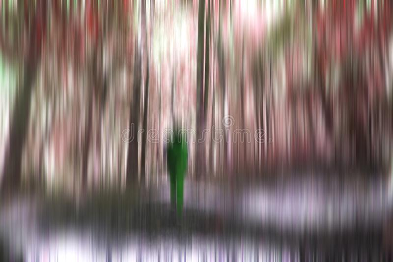 Ung kvinna, ung man som går i skogen bara i en skugga naturlig bakgrundsillustration Oskarp bild av träd och royaltyfri fotografi