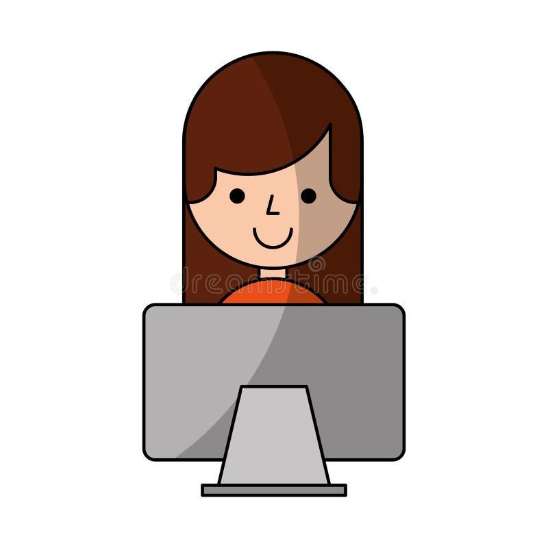 Ung kvinna med datorteckenet royaltyfri illustrationer