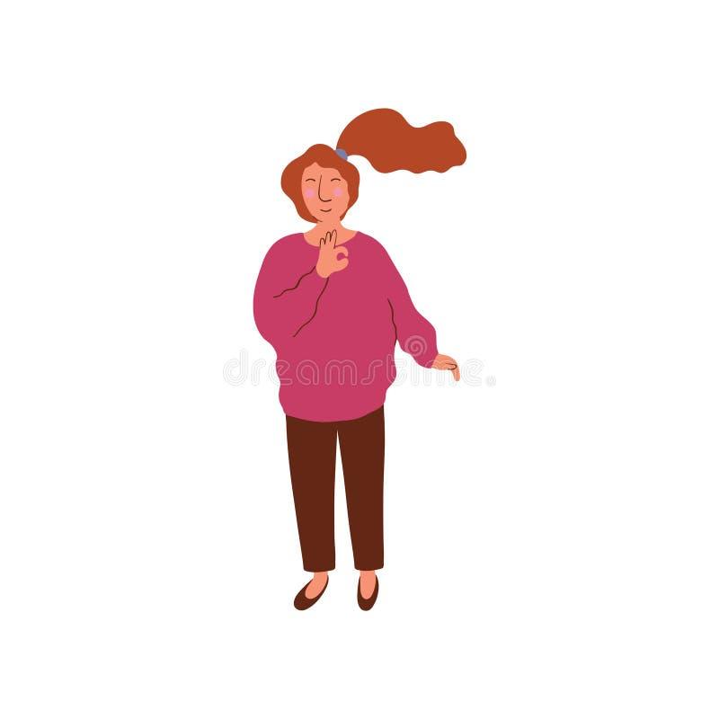 Ung kvinna med den bärande blusen för hästsvanshårstil och byxavektorillustrationen vektor illustrationer