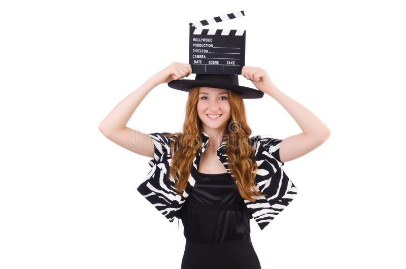 Ung kvinna med den isolerade filmpanelbrädan arkivbild