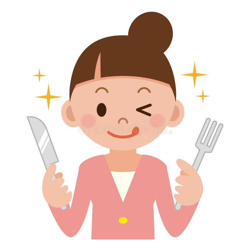 Ung kvinna med en kniv och en gaffel vektor illustrationer