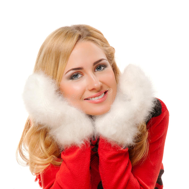 Ung kvinna med fleecy mittens royaltyfria foton