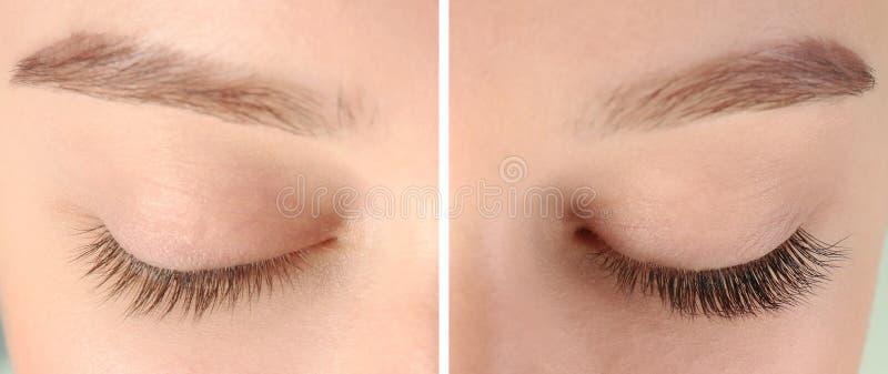 Ung kvinna med härliga ögonfrans, closeup royaltyfri fotografi