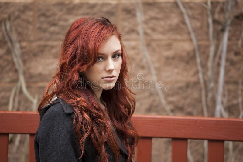 Ung kvinna med härligt kastanjebrunt hår royaltyfri foto