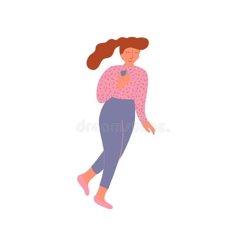 Ung kvinna med hästsvanshårstil som bär den rosa blusen och Gray Trousers Vector Illustration stock illustrationer