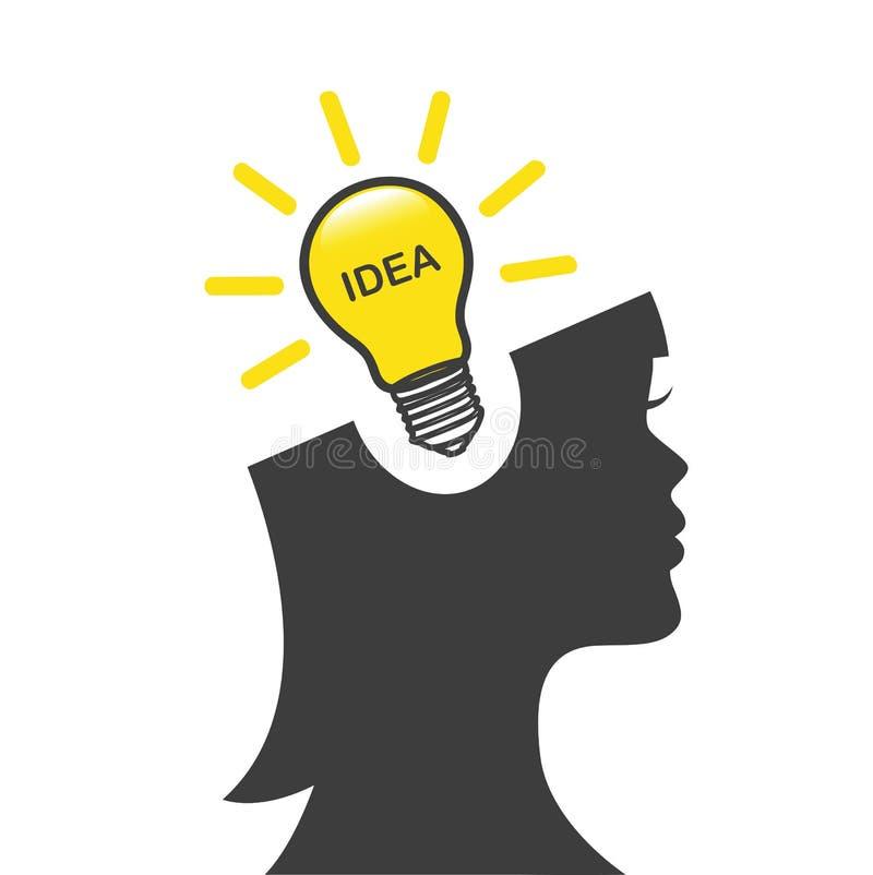 Ung kvinna med idébubblan som glöder en ljus kula stock illustrationer