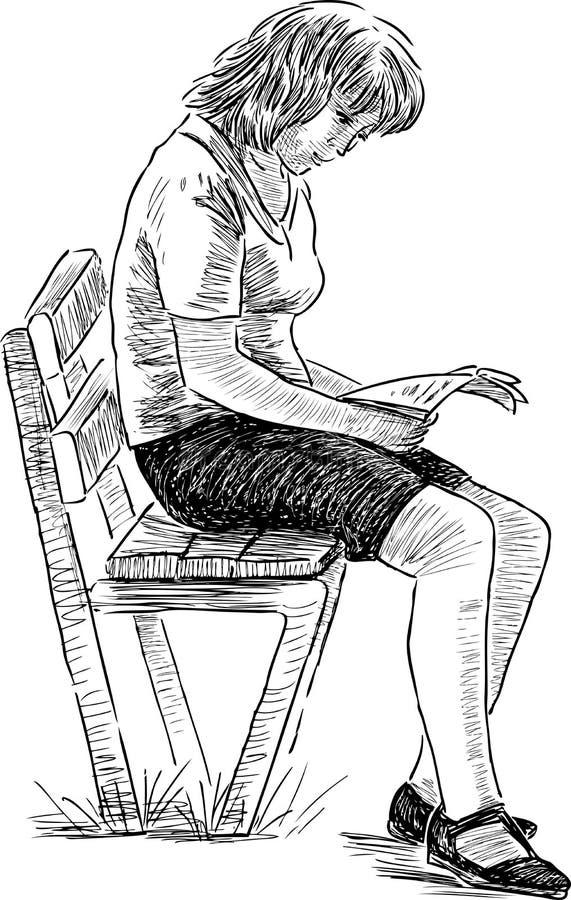 Ung kvinna med långt hårsammanträde i läsning för fönsterplats royaltyfri illustrationer