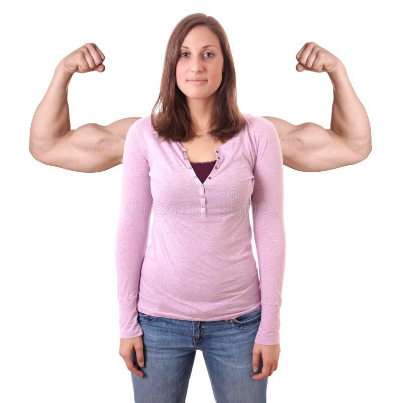 Ung kvinna med lade över muskler fotografering för bildbyråer