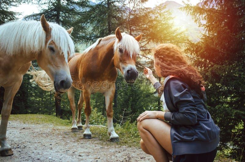 Ung kvinna med lockigt hår som daltar en häst i träna fotografering för bildbyråer