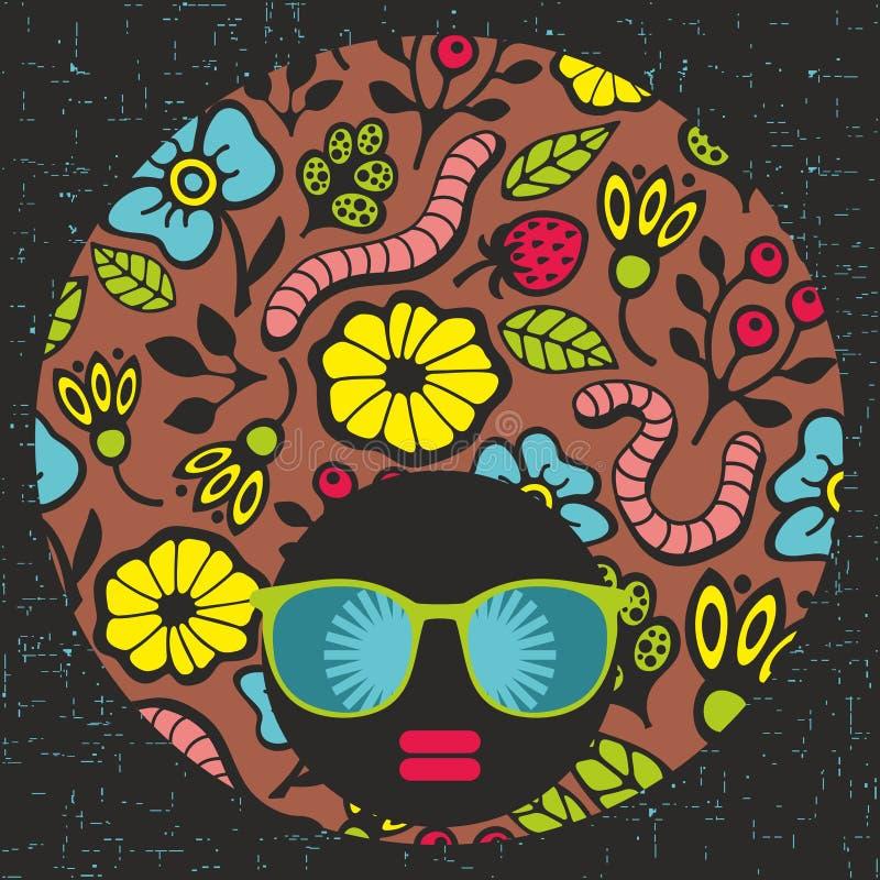 Ung kvinna med mörk hud och idérikt hår vektor illustrationer
