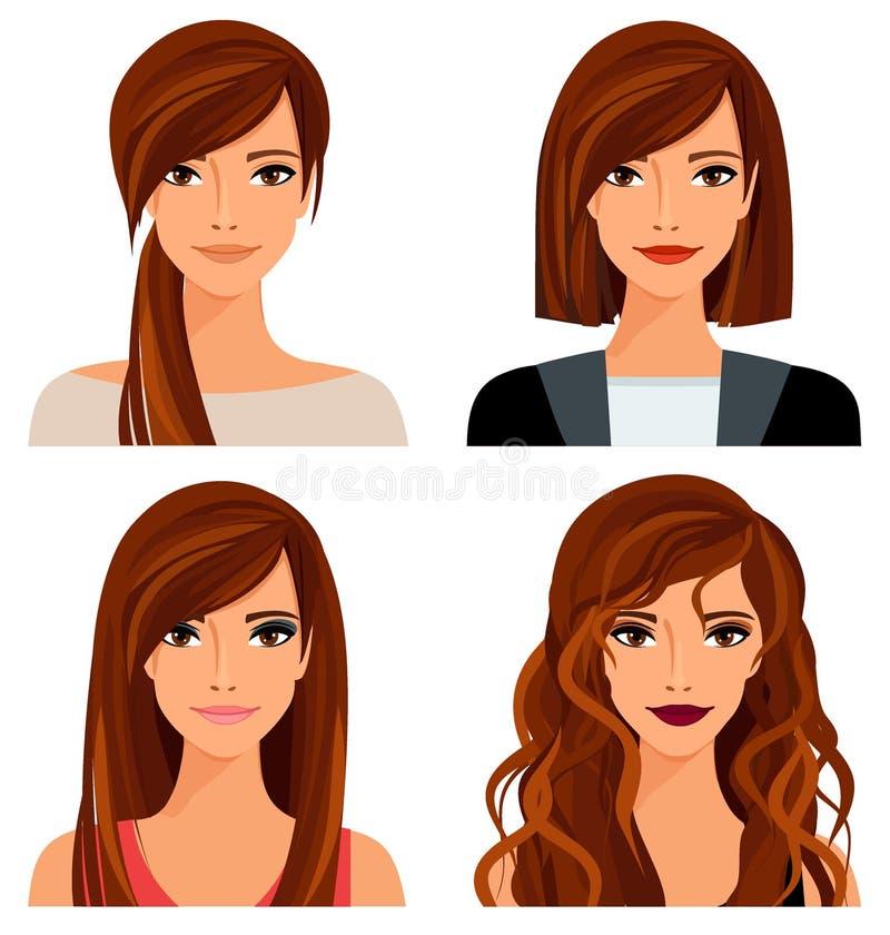 Ung kvinna med olik frisyrer och makeup vektor illustrationer