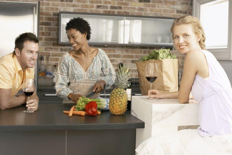 Ung kvinna med vänner som förbereder mat i kök royaltyfri fotografi