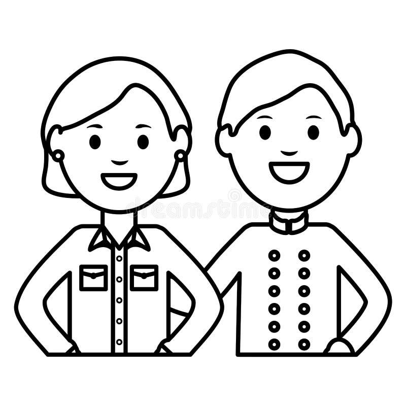Ung kvinna och uppassare vektor illustrationer