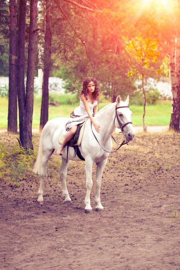 Ung kvinna på en häst Hästryggryttare, kvinnaridninghäst royaltyfria bilder