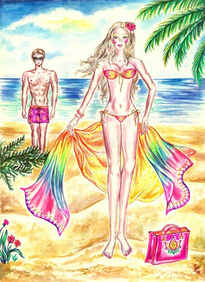 Ung kvinna på stranden med färgrik pareo vektor illustrationer