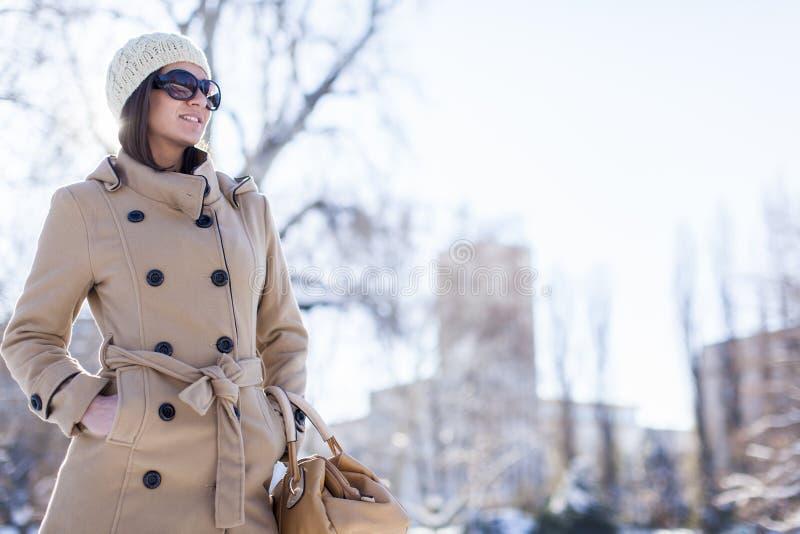 Ung kvinna på vintern fotografering för bildbyråer