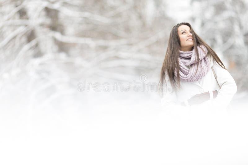 Ung kvinna på vintern royaltyfri fotografi