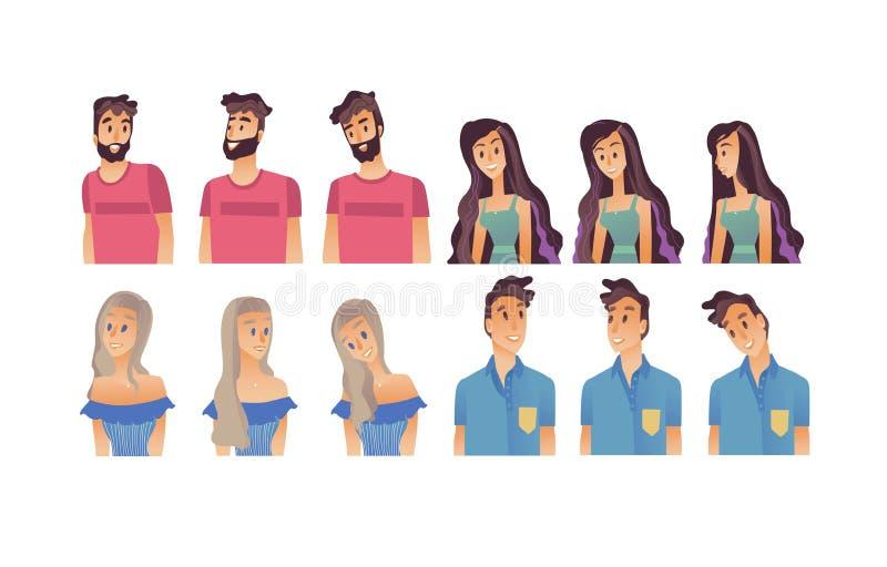 Ung kvinna, plan avatarvektor för man royaltyfri illustrationer