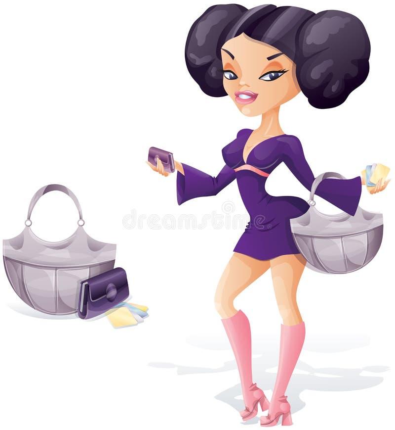ung kvinna som är klar för shopping vektor illustrationer