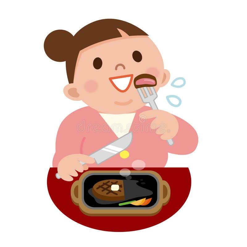 Ung kvinna som äter biff royaltyfri illustrationer