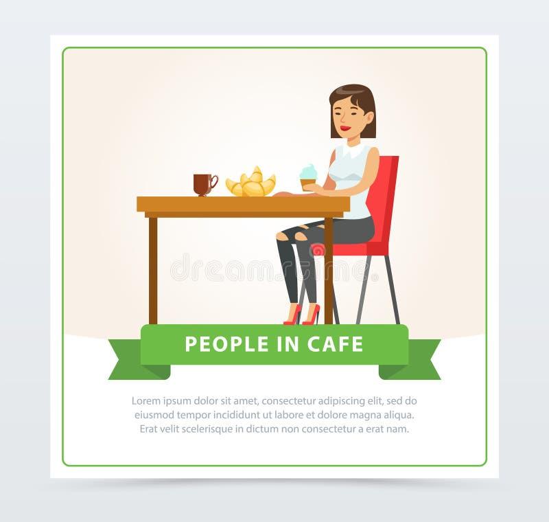 Ung kvinna som äter och dricker kaffe, medan sitta på tabellen, folk i kafébaner, plana vektorbeståndsdelar för stock illustrationer